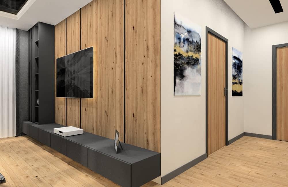 Projekt mieszkania 50m2: Aranżacja sypialni, salonu z aneksem, łazienki