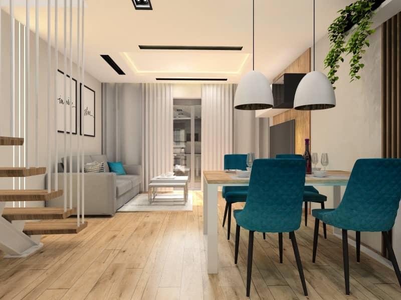 Przytulna aranżacja salonu z aneksem kuchennym 22m2. Projekt wnętrza