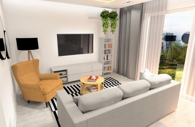 Salon 25m2. Podpowiadamy jak urządzić salon. Projektowanie wnętrza, jasne wnętrze, okno na taras, fotel miodowy, sofa beż, dywan czarno biały, szafka rtv biała, białe ściany