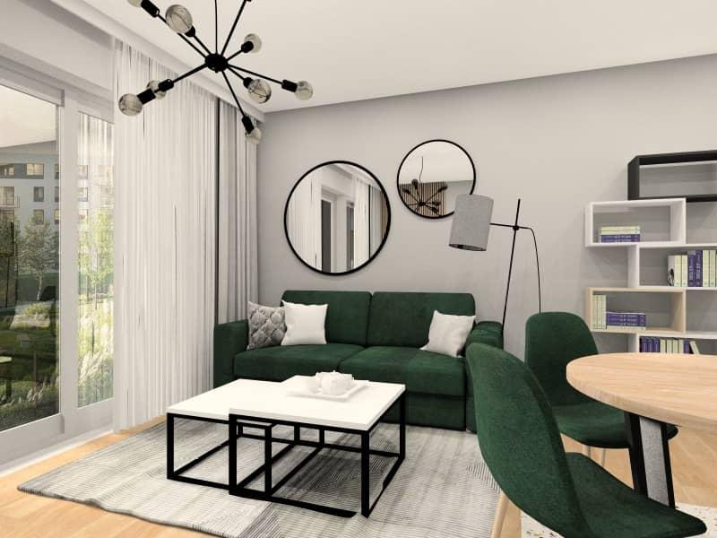 Salon z aneksem - widok na salon, sofa butelkowa zieleń, lustra nad sofą