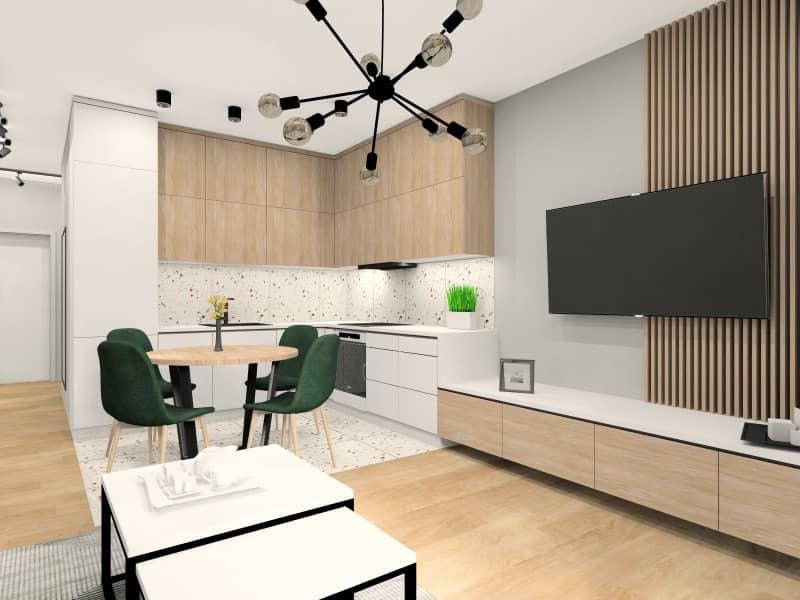 Salon z aneksem kuchennym w mieszkaniu – wizualizacja wnętrz