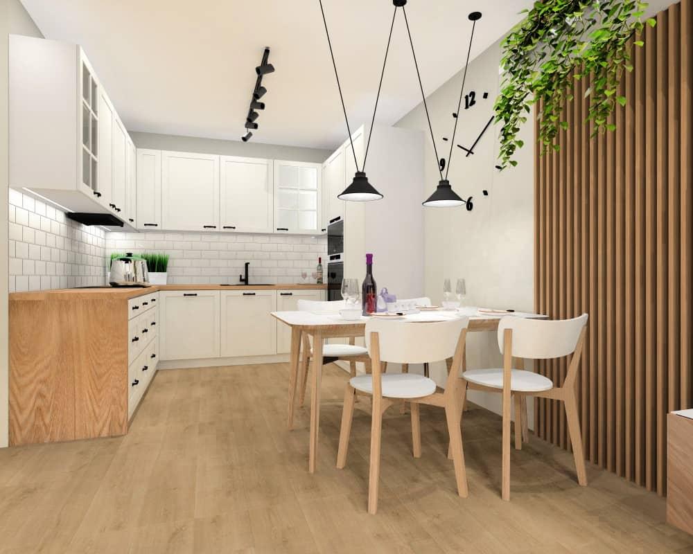 salon, kuchnia, przedpokój w mieszkaniu w bloku, widok na kuchnię