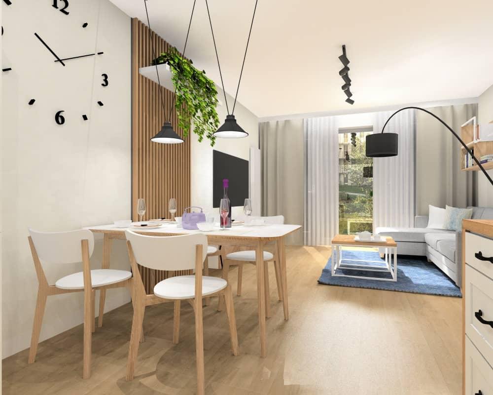 Salon z kuchnią w mieszkaniu w bloku, widok na salon i jadalnie