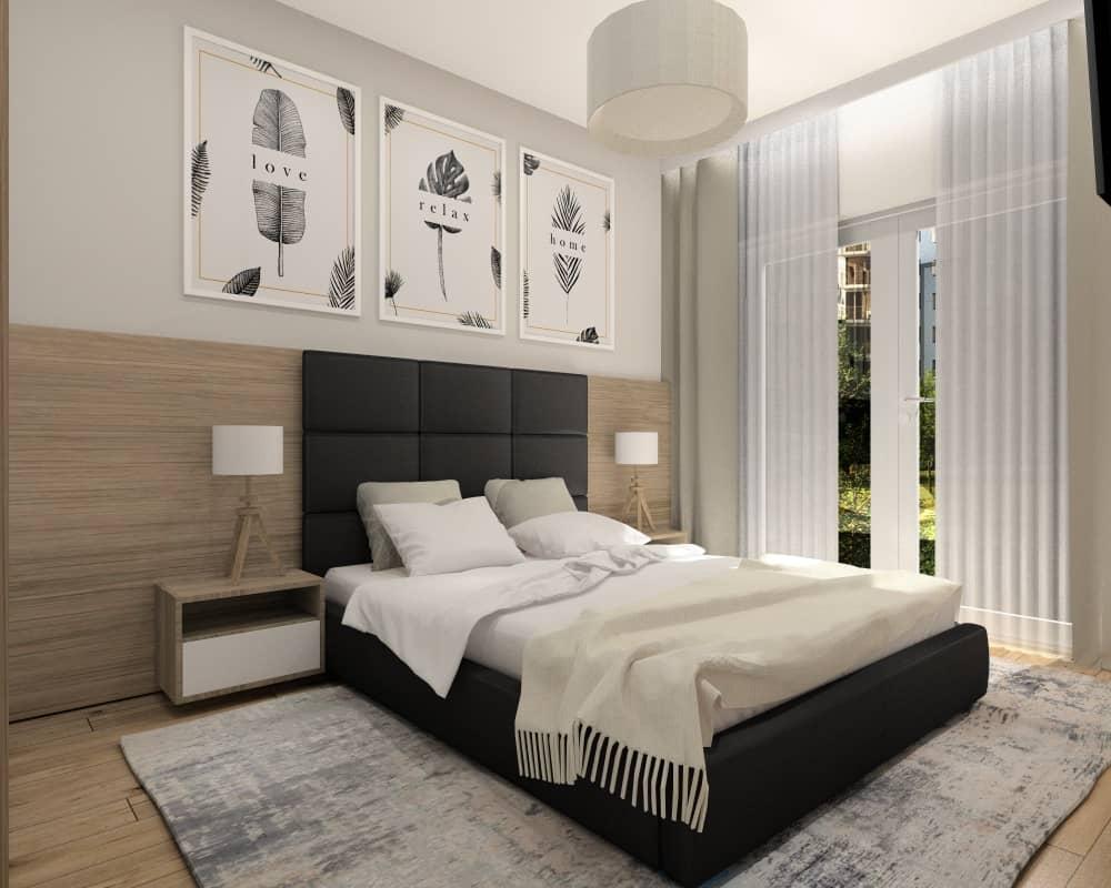 Sypialnia, mała, mieszkanie 35 m2