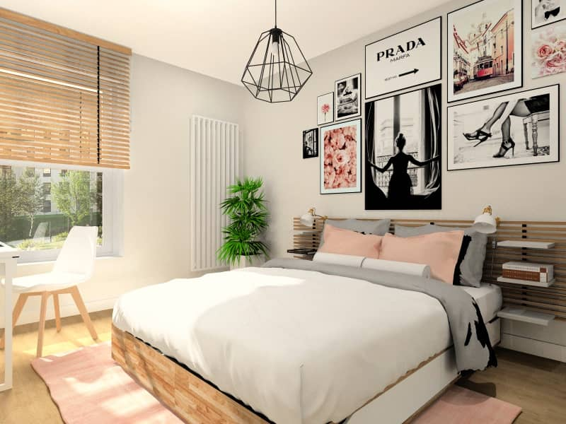 Sypialnia w bloku, łóżko, plakaty nad łózkiem
