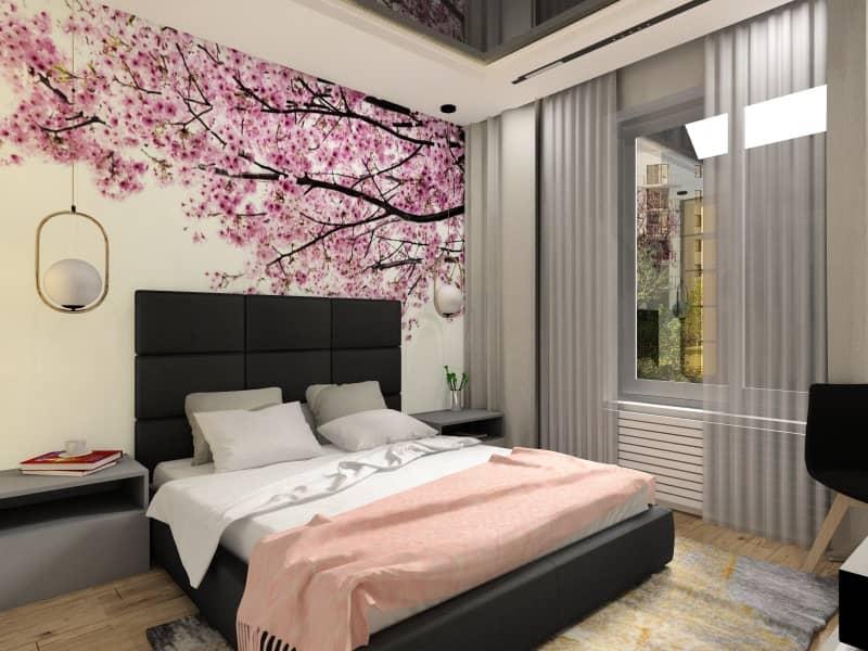 Sypialnia w bloku, fototapeta drzewo, liście, róz, szafki nocne szare, łózko z zagłówkiem, szare, toaletka, dywan, szary, bezowy