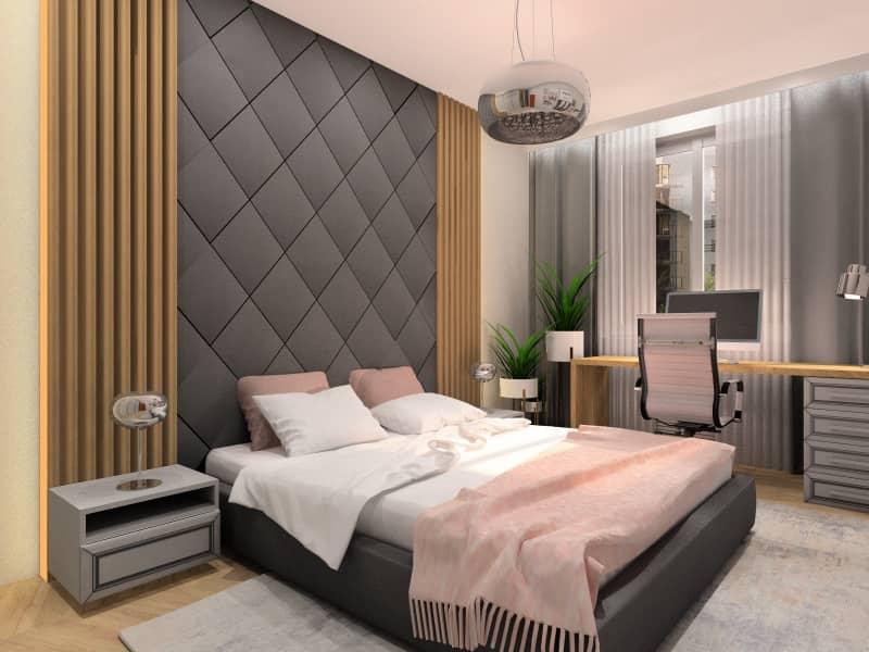 Sypialnia w stylu glamour w mieszkaniu , szare łóżko, panele tapicerowane nad łóżkiem, miejsce do pracy w sypialni