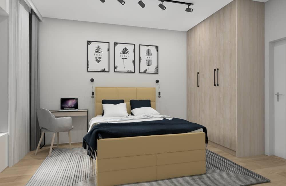 Sypialnia -wizualizacja wnętrza nowoczesnej sypialni