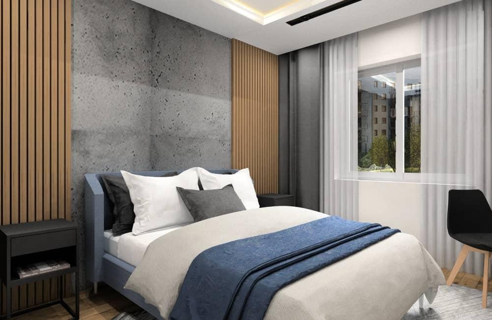 Sypialnia w mieszkaniu 50 m2