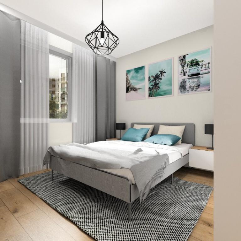 Sypialnia w małym mieszkaniu, łóżko na nóżkach, plakaty na ścianie, biały szary, turkus, beż, poduszki