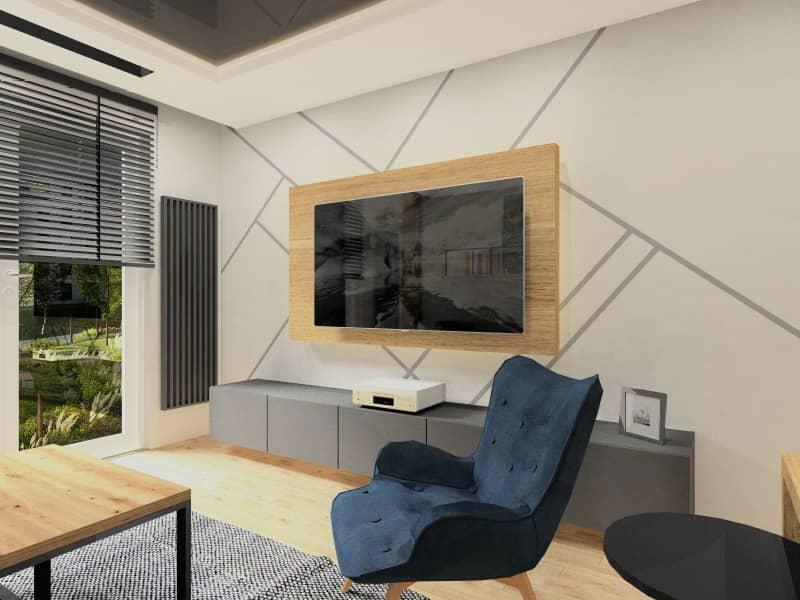 Urządzenie salonu z aneksem kuchennym, piekna aranżacja ściany TV