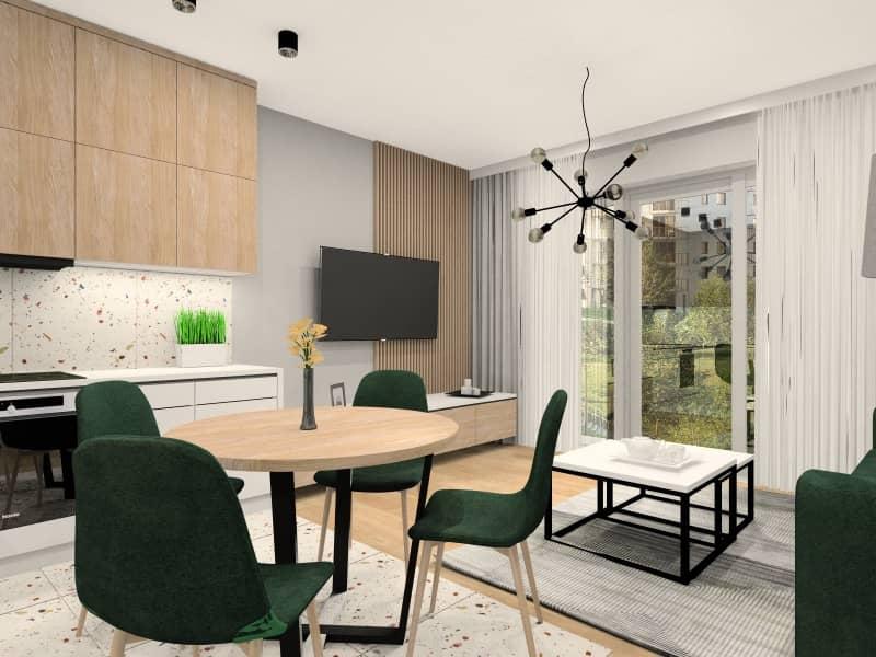 Wizualizacja mieszkania 60m2. Salon z aneksem, przedpokój, sypialnia, łazienka