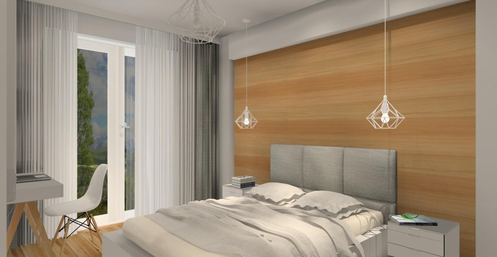 aranżacja sypialni styl skandynawski, biały, szary drewno