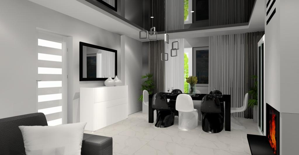 aranżacje salonu, nowoczesny salon, biały, szary czarny