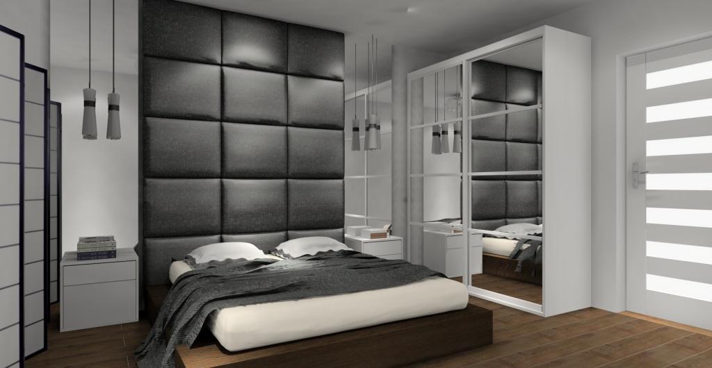Nowoczesna aranżacja sypialni, biurko w sypialni