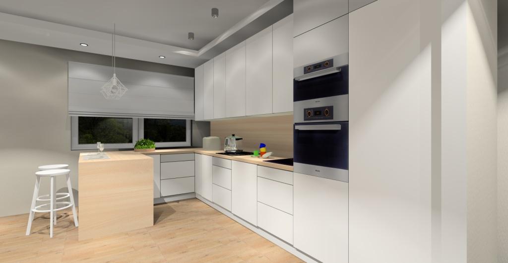 aranżacja kuchni skandynawskiej, kuchnia biała, drewno, wyspa