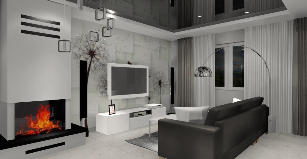 Salon nowoczesny, aranżacja salonu, salon w kolorze biały, szary, czarny