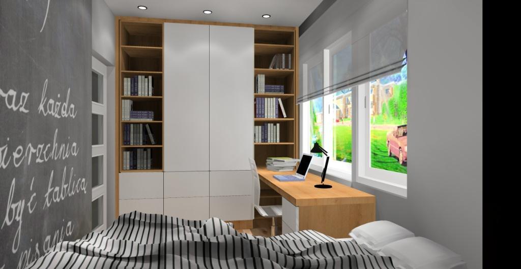 Pokój dla chłopca, pokój dla nastolatka, biały, szary, drewno, tapeta geometryczna