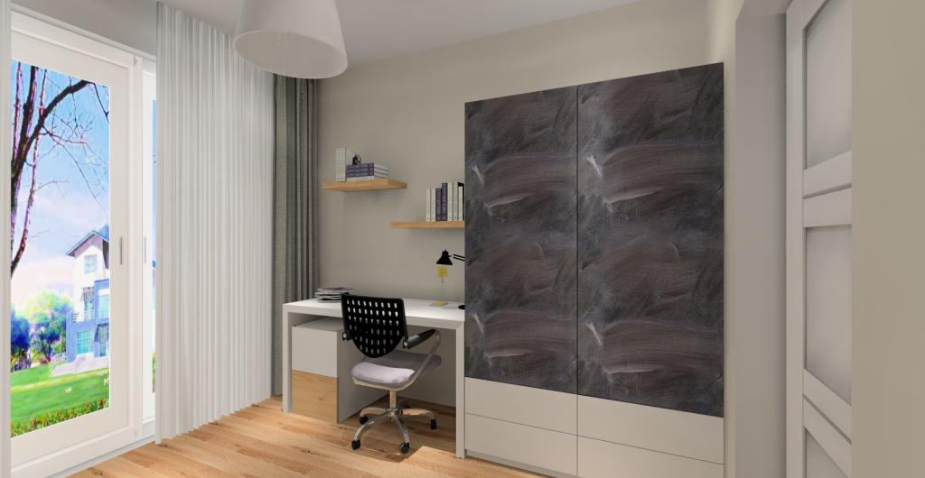 Pokój chłopcka, biurko skandynawskie, pokój w kolorze biały, drewno