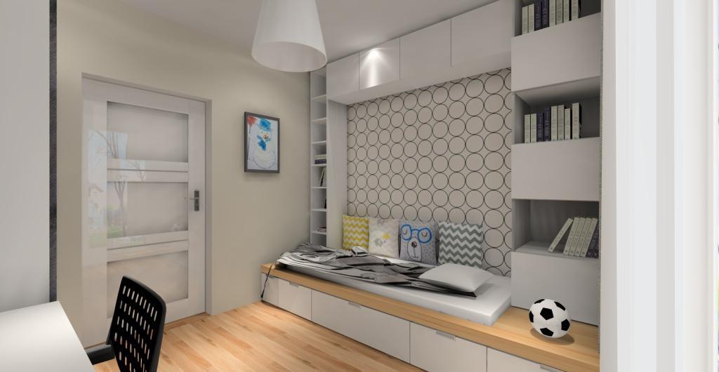 pokój dla dziecka, wnętrze skandynawskie, biały, drewno, łóżko z szufladami, tapeta skandynawska