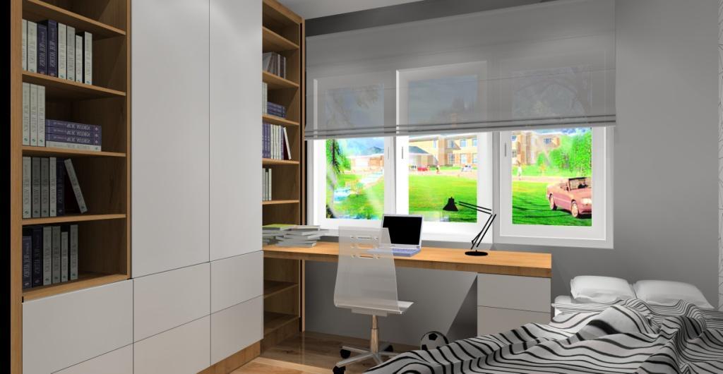 Projekt pokoju dla nastolatka, biały, szary, drewno, Nowoczesny pokój