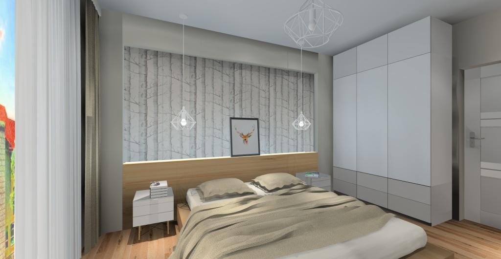 sypialnia w stylu skandynawskim, szafki nocne skandynawskie, łóżko skandynawskie, oświetlenie skandynawskie