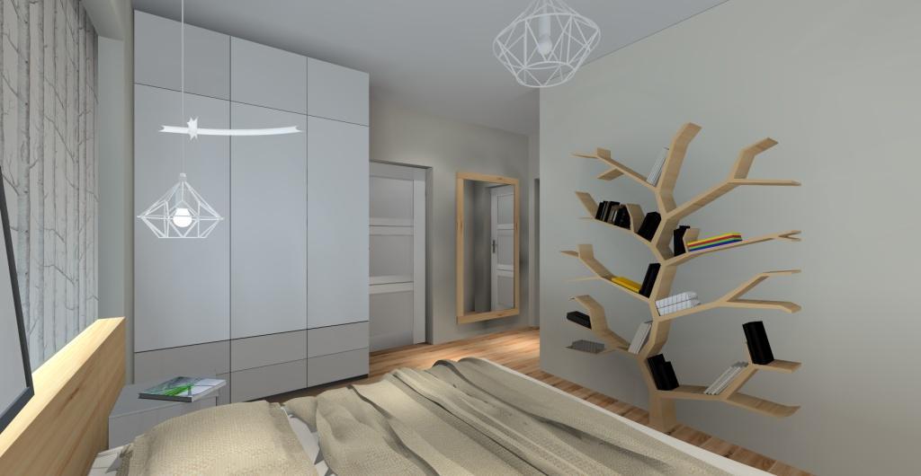 Sypialnia, wnętrze skandynawskie, szafka skandynawska, drzewo dekoracyjne na książki
