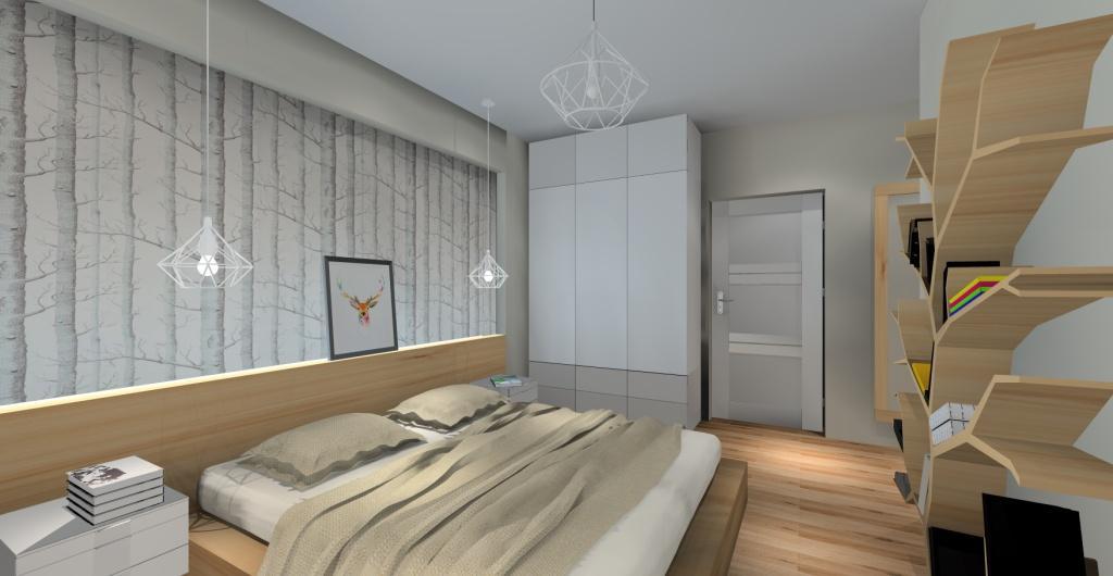 Aranżacja sypialni, styl nowoczesny, biały, szary, drewno, dekoracje skandynawskie
