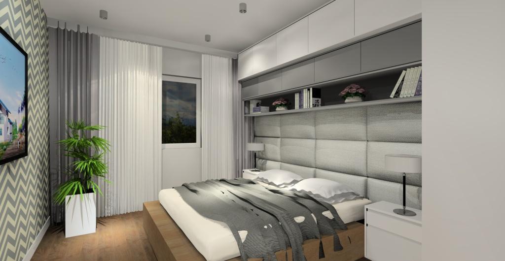 Projekt sypialni nowoczesnej, sypialnia w kolorze biały, szary, tapeta w zyg zaki