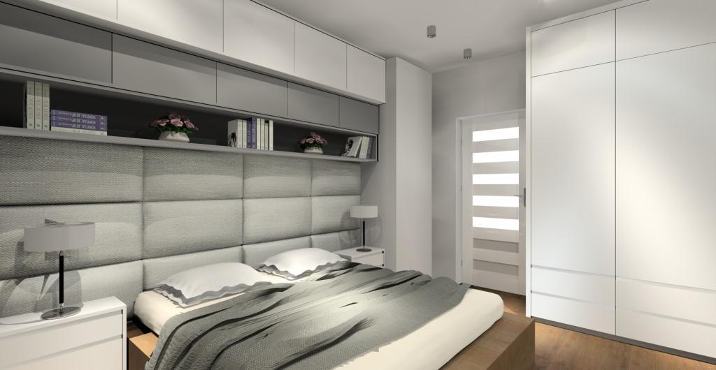 piekna sypialnia zdjęcia, sypialnia biał, szara, drewno
