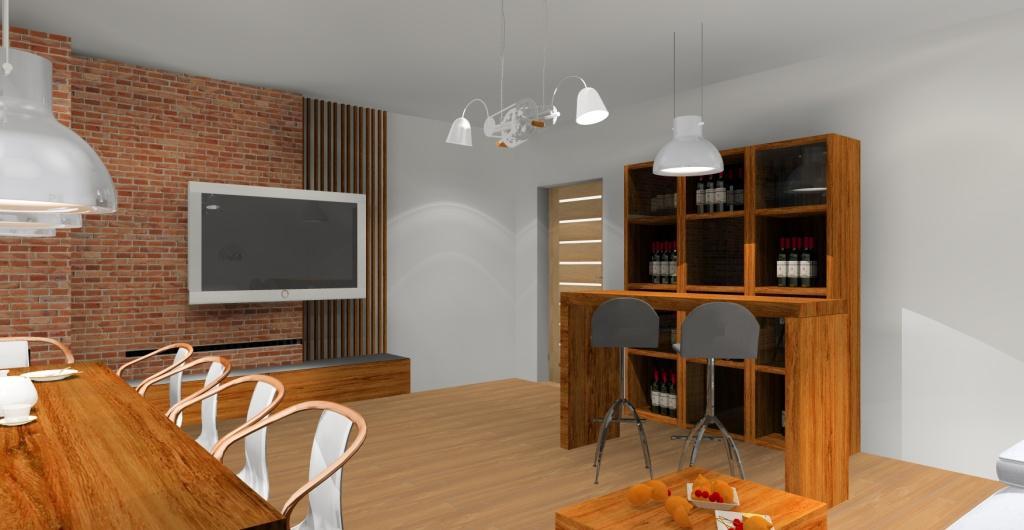 aranżacja salonu w stylu loft, barek w salonie, stare drewno, cegła czerwona w salonie