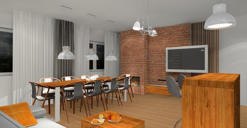 aranżacja salonu loft, cegła na ścianie, duży stół w salonie, barek w salonie