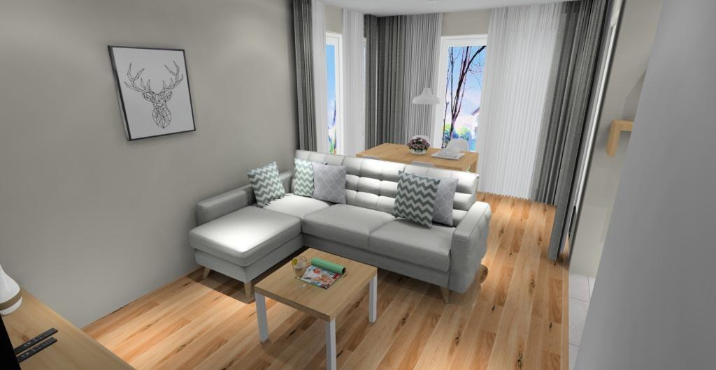 salon z kuchnią w kolorze drewno, biały, szary, wnętrz salonu styl nowoczesny