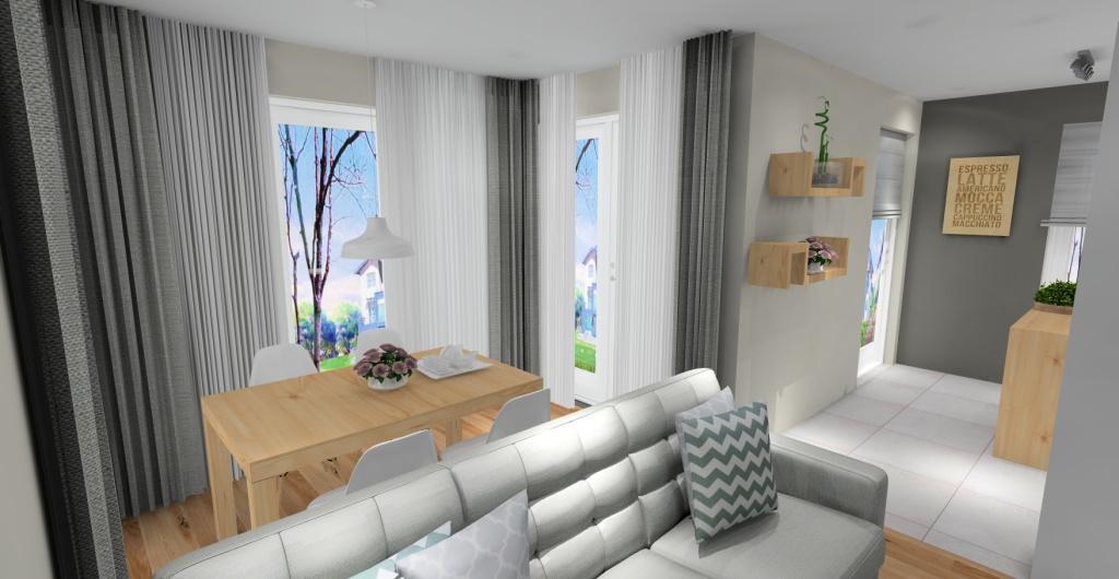 Projekt salonu z kuchnią styl skandynawski, dekoracje w stylu skandynawskim, poduszki skandynawskie