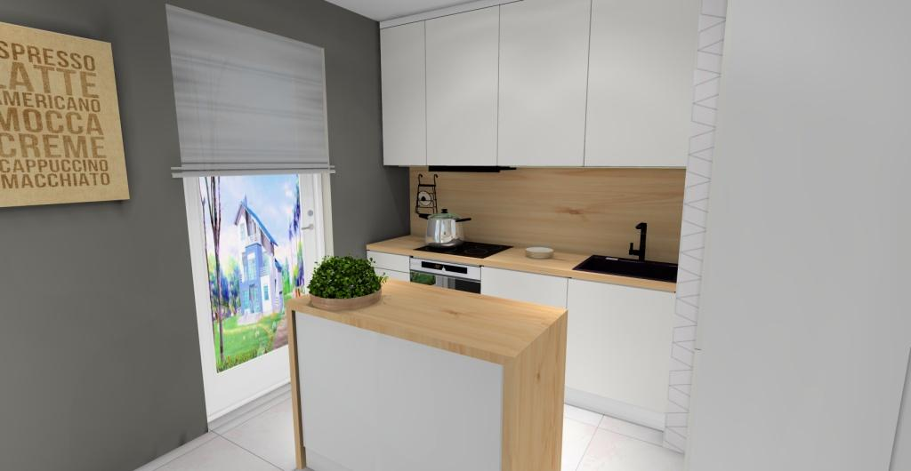 Aranżacja salon z kuchnią, wnetrze skandynawskie, kuchnia skandynawska, biały, szary, drewno