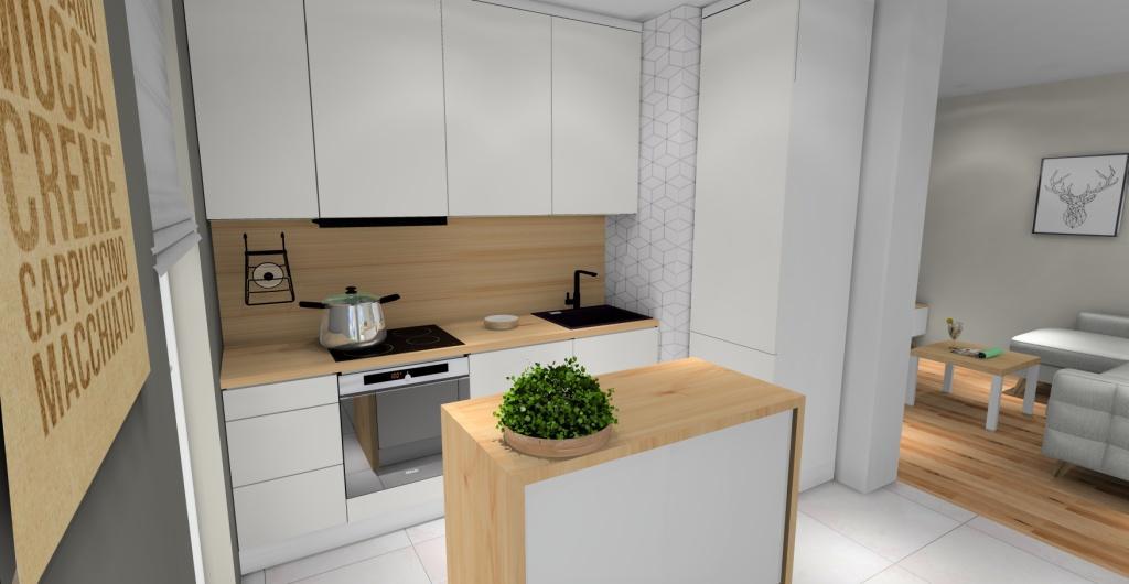 Skandynawski salon z kuchnia, mała kuchnia skandynawska, wyspa w stylu skandynawskim