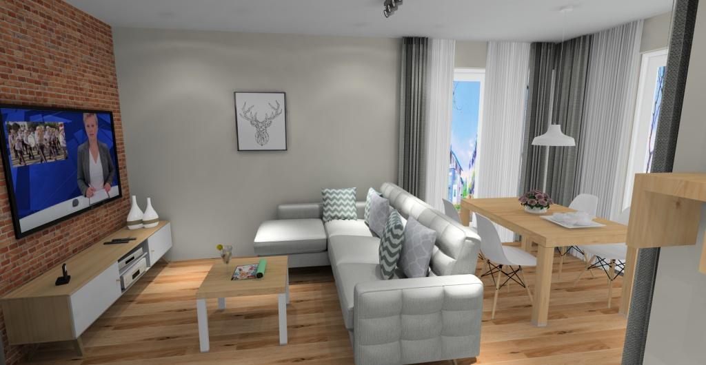 salon skandynawski, cegła na ścianie, szary, drewno, biały
