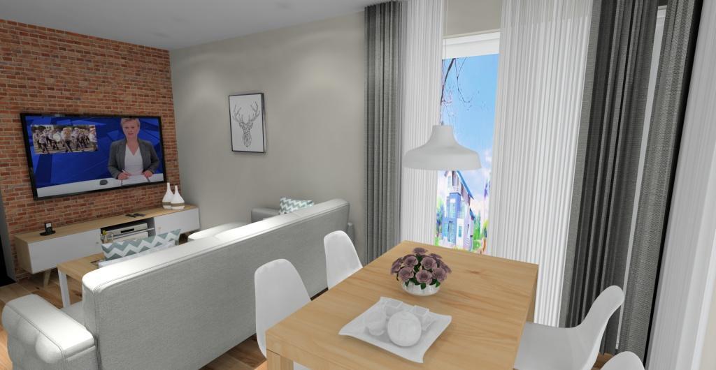 salon z kuchnią w kolorze biały, drewno, szary, styl skandynawski