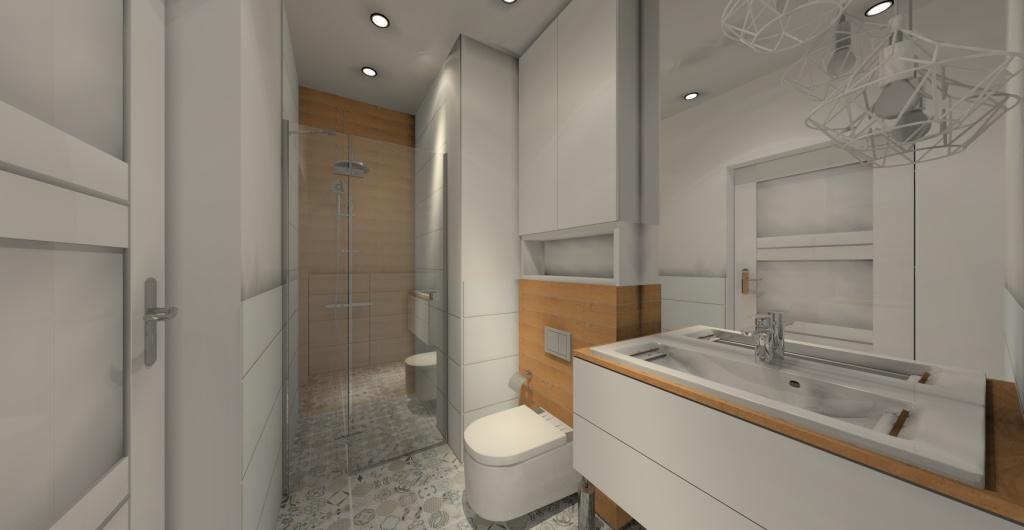 projekt małej łazienki, styl skandynawski, drewno, biały, szary, prysznic w łazience