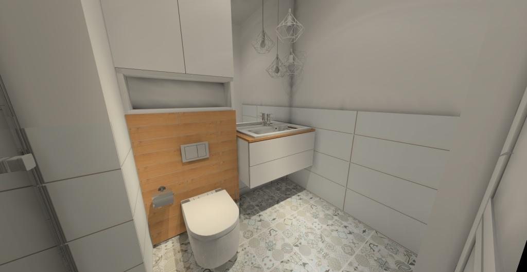 łazienka, styl skandynawski, biały, szary, drewno
