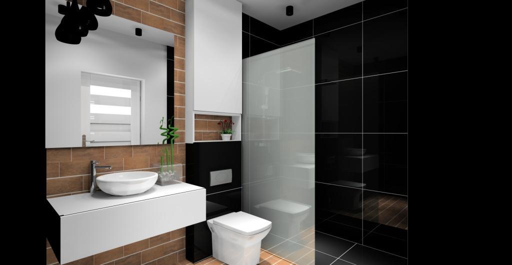 projekt łazienki, nowoczesna łazienka, biała, drewno, czarna