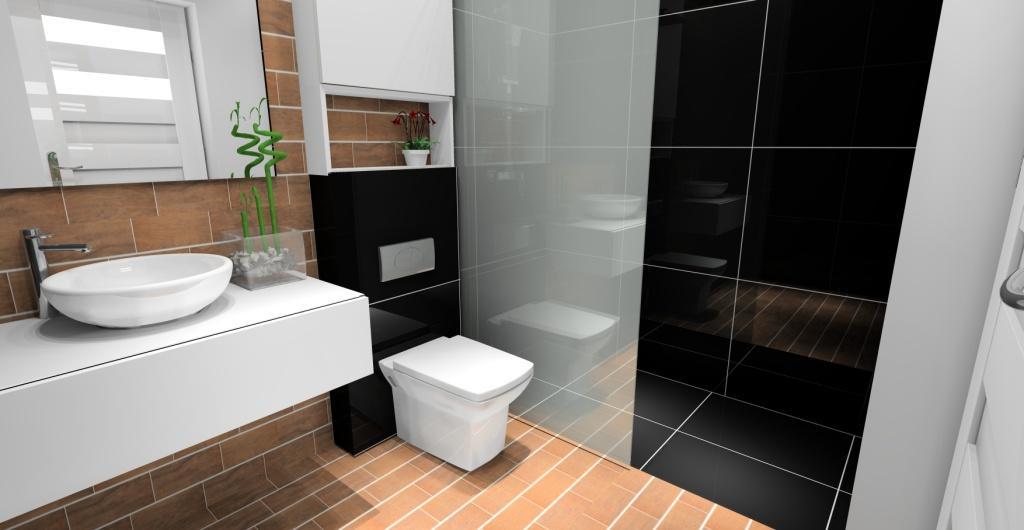 projekty łazienki, łązienka w stylu nowoczesny, płytki białe, czarne, drewno