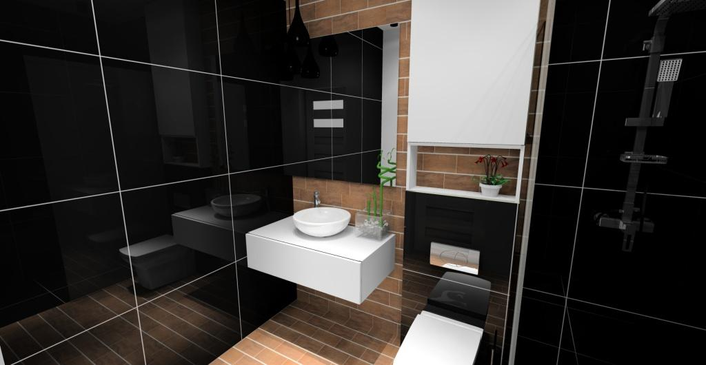 Projekt łazienki, łazienka czarny, drewno, biały