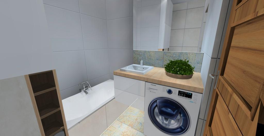projekt łazienki z pralką, projekt łazienki z wanną