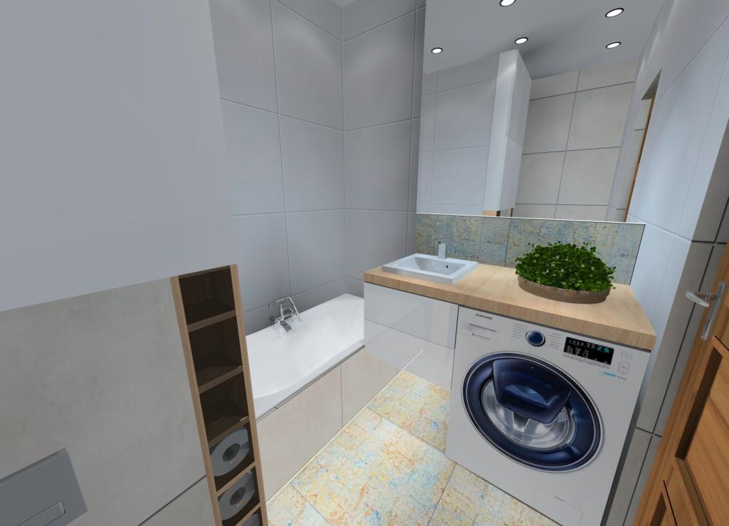 aranżacja łazienki białej z drewnem, nowoczesne wnętrze