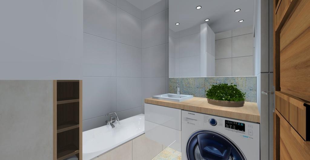 projekt łazienki, baiłej, szarej, drewno