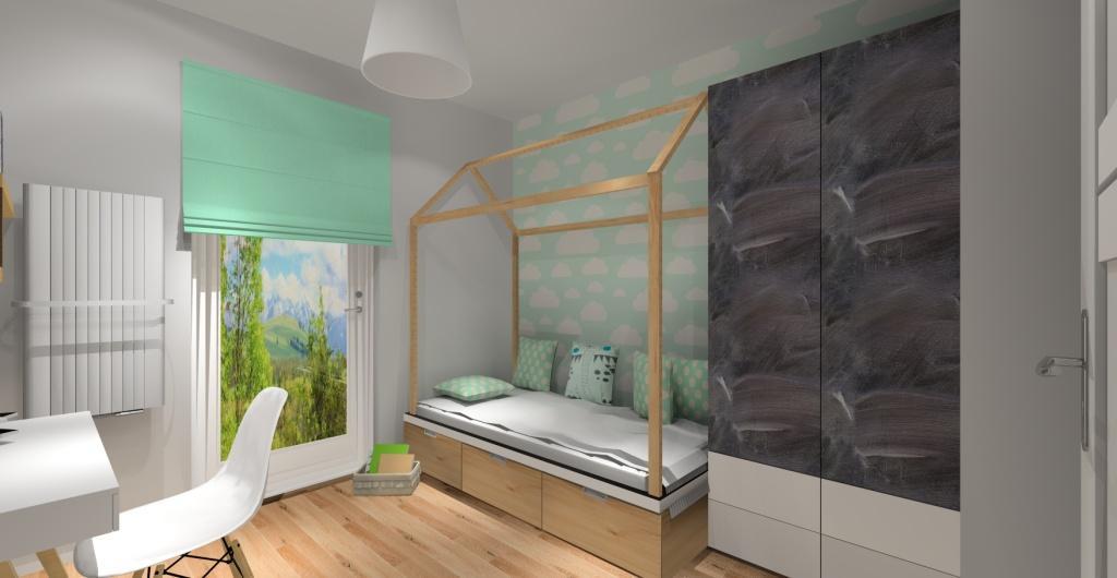 Projekt pokoju dziecka dla dziewczynki, pokój dla dziecka w kolorach biały, miętowy, szary, łóżko domek