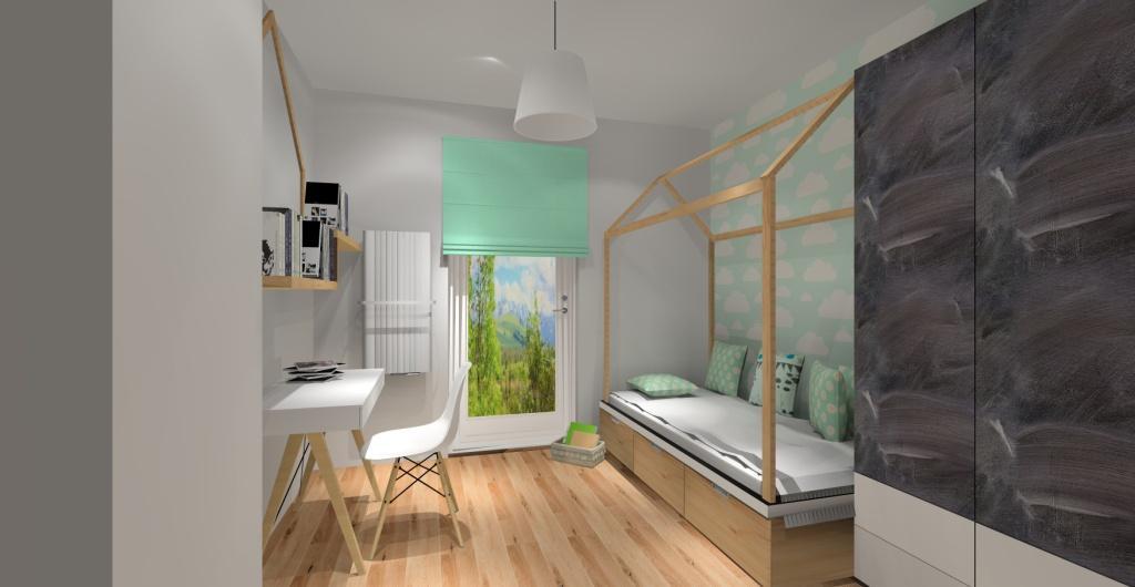Projekt pokoju dziecka dla dziewczynki w stylu skandynawskim, pokój dziecka w kolorach biały, szary, drewno