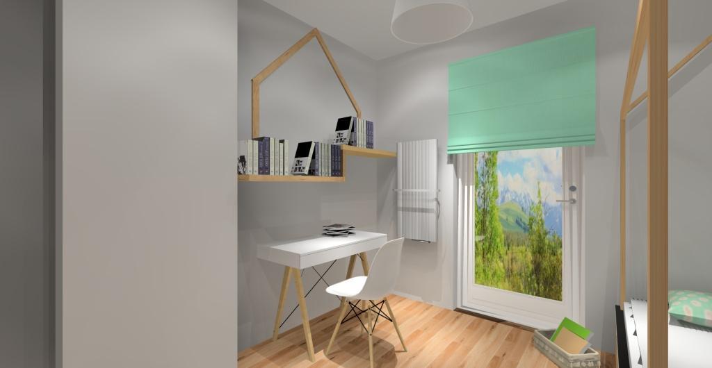 Projekt pokoju dziecka dla dziewczynki w kolorze drewno, biały, szary, biurko skandyawskie, łóżko domek
