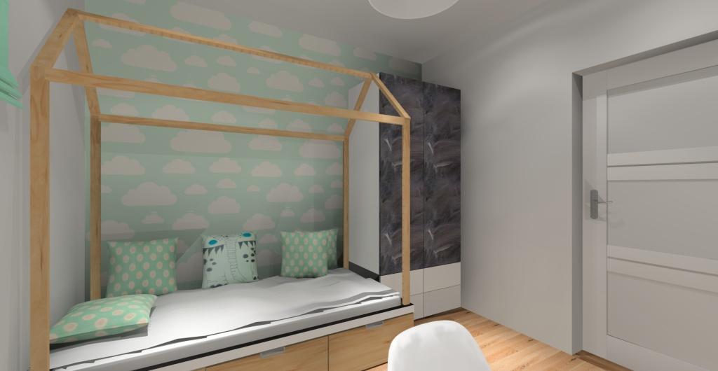 Projekt pokoju dziecka, pokój dla dziewczynki, szafa w pokoju dziecka pomalowana farba kredową, pokój w stylu skandynawskim